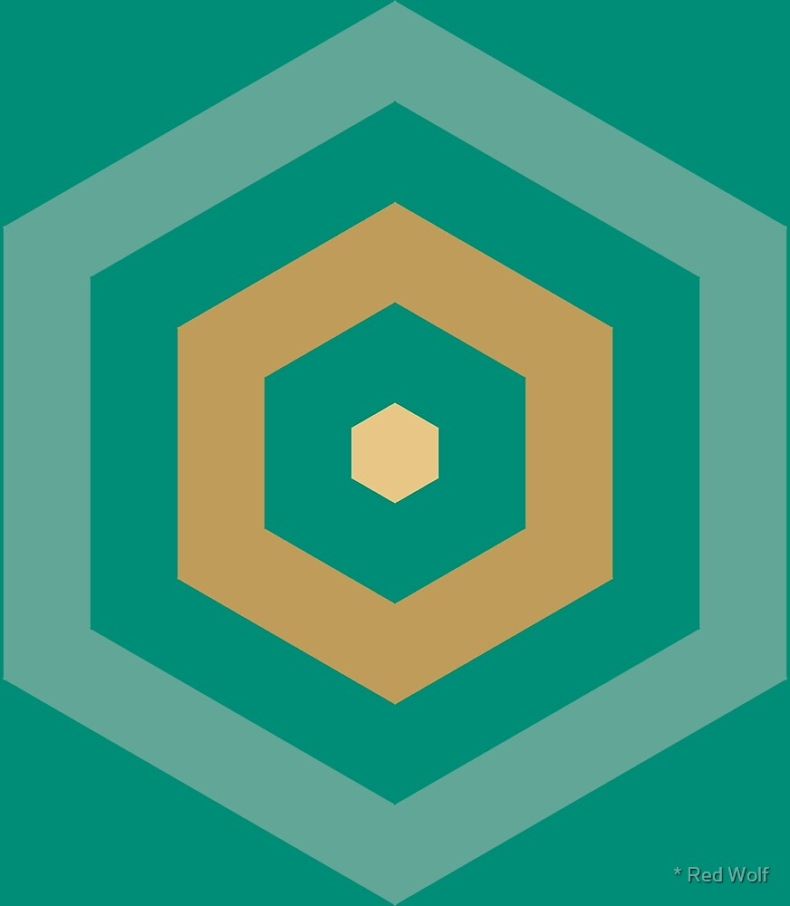 Geometric Pattern: Hexagon Hive: Turquoise by * Red Wolf