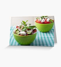 Vegetable vegetarian salad with raw tomato and cucumber Greeting Card