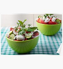 Vegetable vegetarian salad with raw tomato and cucumber Poster