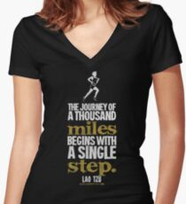 Thousand Miles Quote T-shirts & Homewares Women's Fitted V-Neck T-Shirt