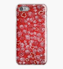 Mom's Garden Roses Flowers Hearts Red White Swirls Dots Joy Love Hope  iPhone Case/Skin