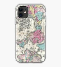 Vintage Map of The World (1852) iPhone Case