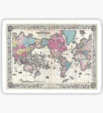 Vintage Map of The World (1852) Sticker