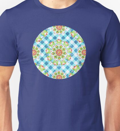 Blue Gingham Firework Mandala T-Shirt