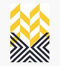 Modern Geometric Pattern Yellow Black Photographic Print