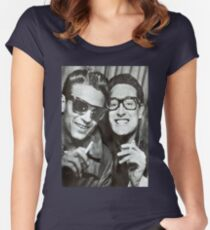 Buddy Holly and Waylon Jennings Women's Fitted Scoop T-Shirt