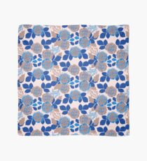 Creme and Blue Carnation Garden Scarf