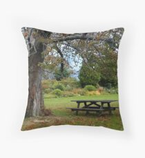 Picnic Table under an Ancient Tree Throw Pillow