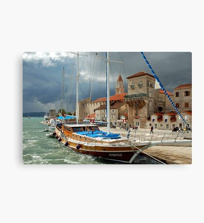 Ship in stormy weather Canvas Print