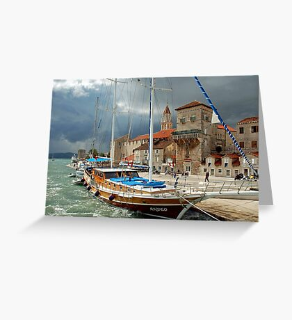 Ship in stormy weather Greeting Card