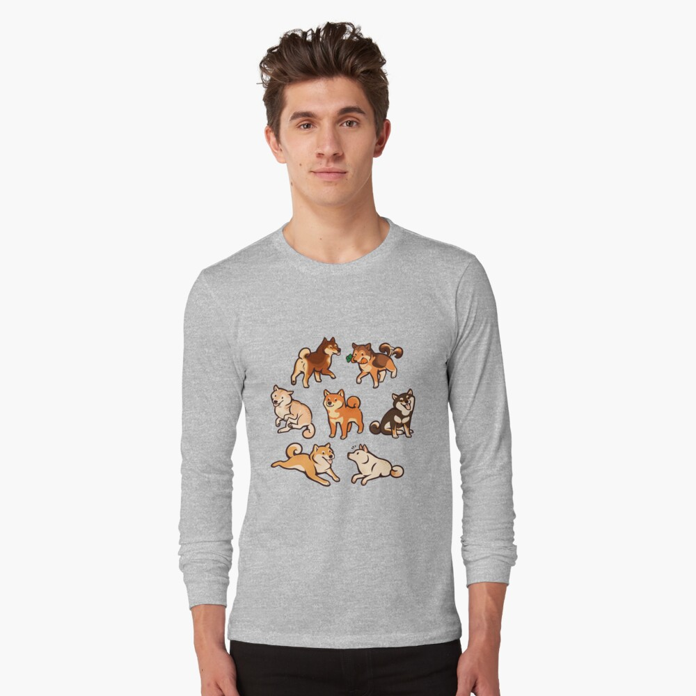 shibes in blue Long Sleeve T-Shirt