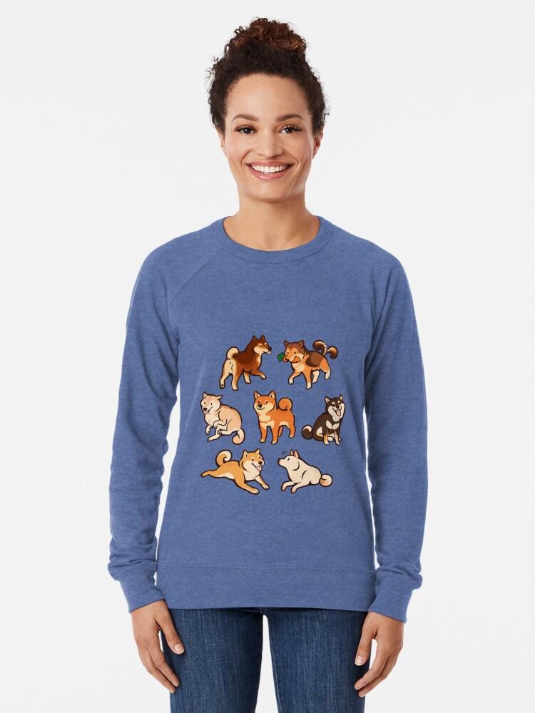 Alternate view of shibes in blue Lightweight Sweatshirt