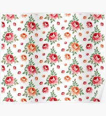 Roses, floral background, seamless pattern Poster