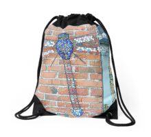 Blue glass mosaic dragonfly Drawstring Bag