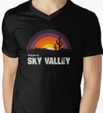 Camiseta para hombre de cuello en v Bienvenido a Sky Valley