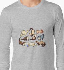 Camiseta de manga larga serpientes gato en azul