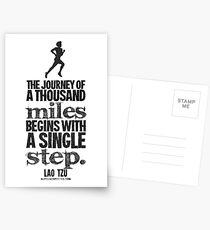 Thousand Miles Black Text Quote T-shirts & Homewares Postcards