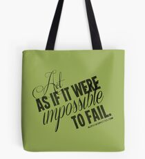 Impossible To Fail Black Text Quote T-shirts & Homewares Tote Bag