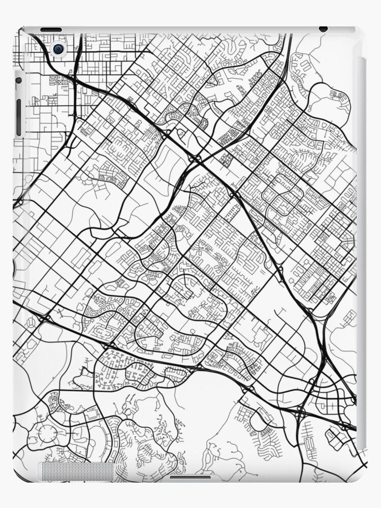 \'Irvine Map, USA - Black and White\' iPad Case/Skin by MainStreetMaps