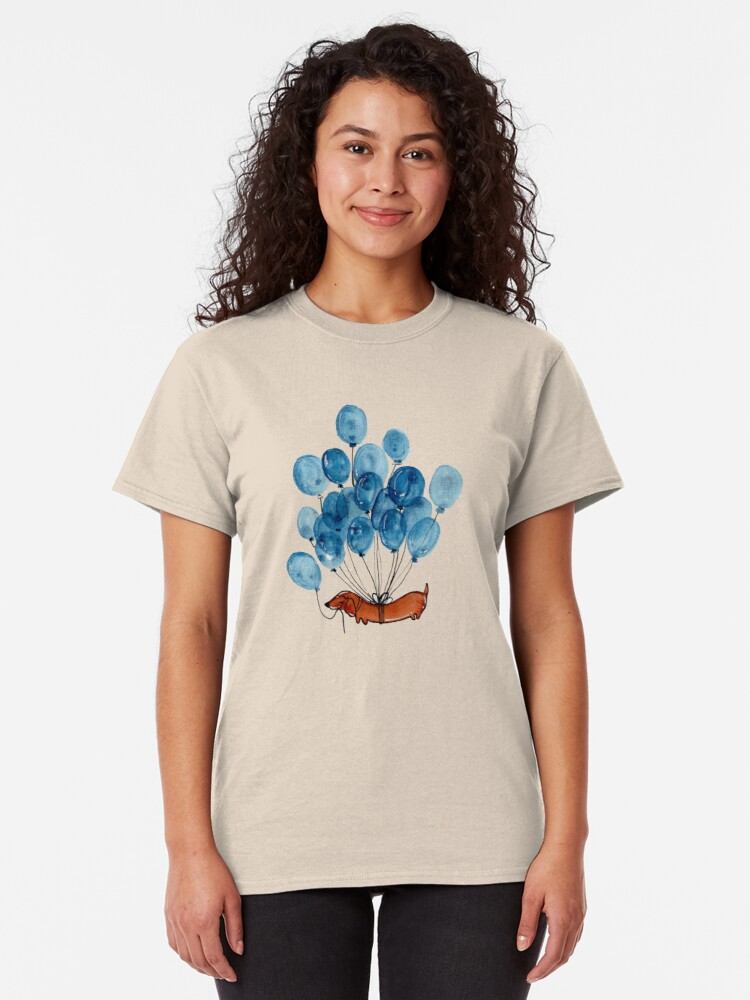 Alternate view of Dachshund dog and balloons Classic T-Shirt
