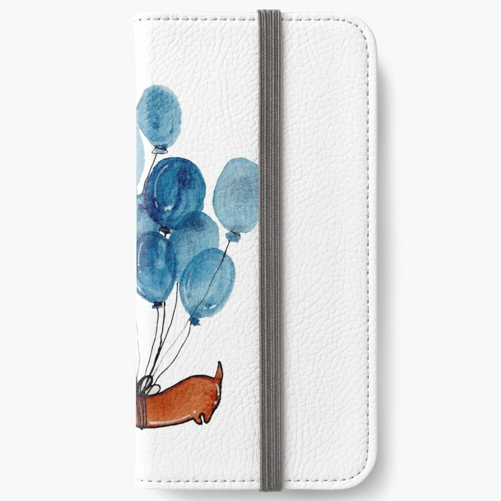 Dachshund dog and balloons iPhone Wallet