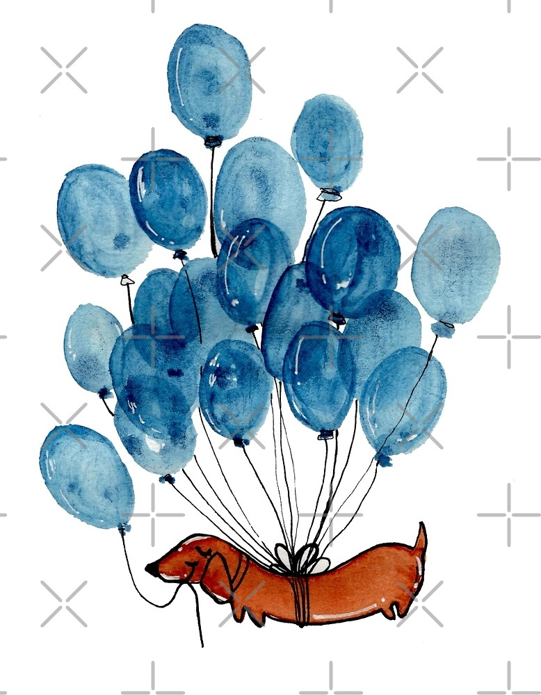 Dachshund dog and balloons by KaylaPhan