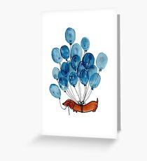Dachshund Dog And Balloons Greeting Card