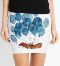 Dachshund dog and balloons Mini Skirt