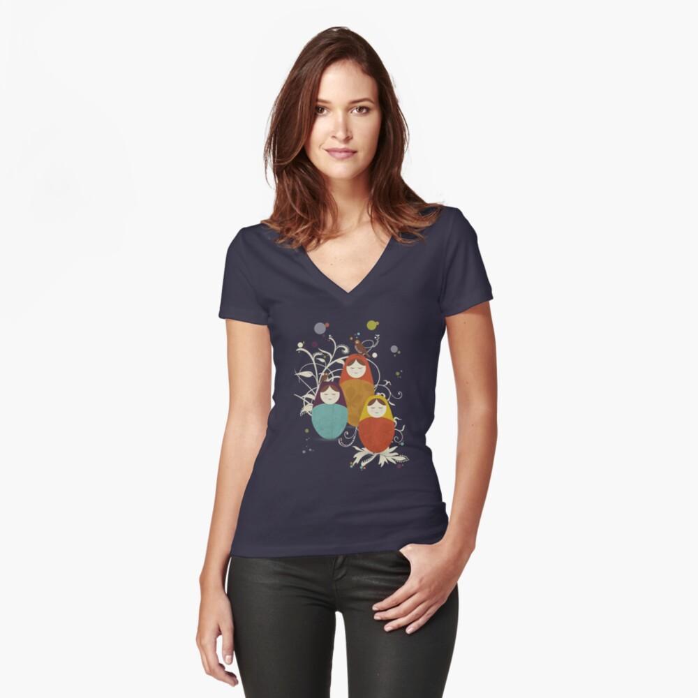Matriochka Tailliertes T-Shirt mit V-Ausschnitt