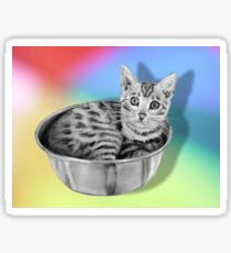 Bengal Cat in a Bowl, Pencil Drawing on Coloured Background Sticker