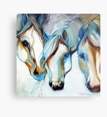 THREE WILD HORSES IN ABSTRACT by Marcia Baldwin Metal Print