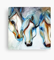 THREE WILD HORSES IN ABSTRACT by Marcia Baldwin Canvas Print