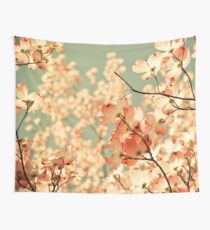 Vintage Pink Spring Flowers Wall Tapestry
