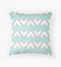 Teal & White Herringbone Chevron Pattern Throw Pillow