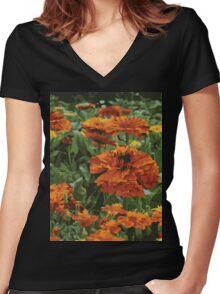 Marigolds Women's Fitted V-Neck T-Shirt
