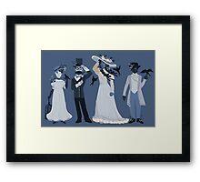 Blue, flowers, and birds Framed Print