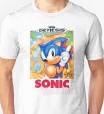 Sega Genesis Sonic The Hedgehog Video Game Cover  Unisex T-Shirt
