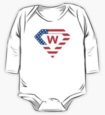 Super alphabet letter with USA flag One Piece - Long Sleeve