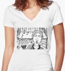 The Flute Player - let your song be heard! Women's Fitted V-Neck T-Shirt