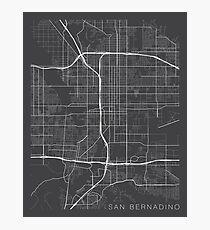 San Bernardino Map, USA - Gray Photographic Print