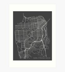 San Francisco Map, USA - Gray Art Print