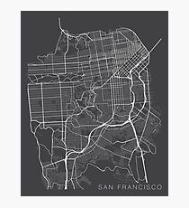 San Francisco Karte, USA - Grau Fotodruck