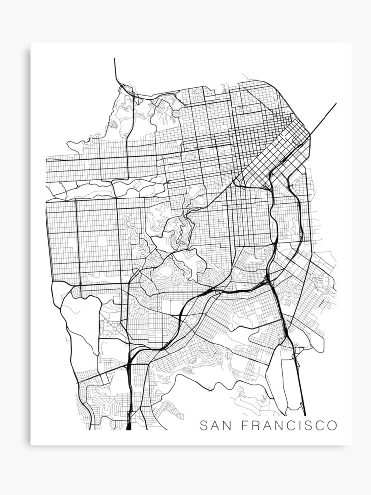 San Francisco Map, USA - Black and White | Canvas Print on yellowstone national park map print, springfield mo map print, united states map print, ohio map print, california print, ft. lauderdale map print, napa valley wineries map print, charleston map print, guadalajara map print, michigan map print, new orleans french quarter map print, long island map print, paris map print, phoenix area map print, los angeles print, missouri map print, chiang mai map print, new york map print, disneyland map print, cocoa beach map print,