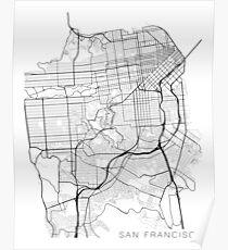 San Francisco Map, USA - Black and White Poster