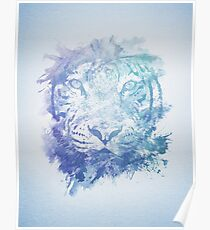 Abstract Watercolor Tiger Portrait / Face Poster