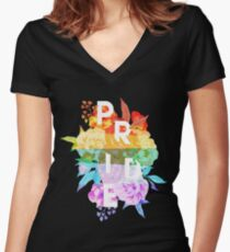 Floral Pride Women's Fitted V-Neck T-Shirt