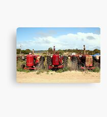 Old farm tractors machinery in country Canvas Print