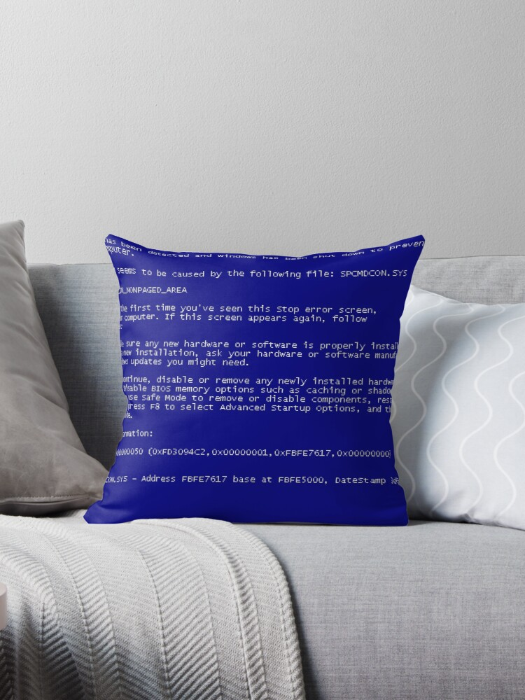 'Windows XP BSOD' Throw Pillow by NetscapeNaviISP