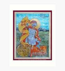 St. Florian Icon - Patron Saint of Firefighters. E mail me to find out how to have your logo or state flag on the shield! Art Print