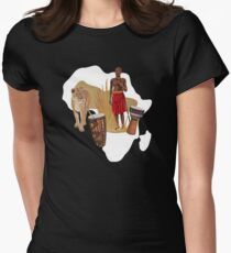 Africa Map African Traditional Drums Women's Fitted T-Shirt